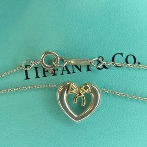 Gold Silver 18k Bow and Heart Pendant Necklace